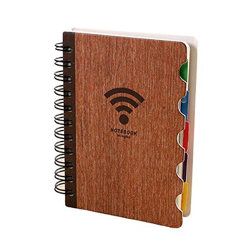 Fashionwu creativo de madera cuaderno de espiral planificador fechas del calendario diario bloc de notas libros de registro...