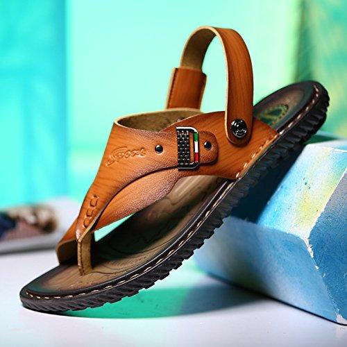 Xing Lin Sandalias De Verano Los Hombres Calzado Casual _ Nuevo Verano Sandalias De Hombres De Metal Super Fibra Patines Transpirable De Hombres brown