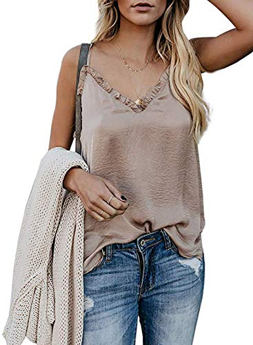 DRIBET Women's Ruffle V Neck Sleeveless Wrap Front Pleated Adjustable Spaghetti Strap Cami Tank Tops Loose Fit Casual Shirts Blouses (Apricot, M) ()