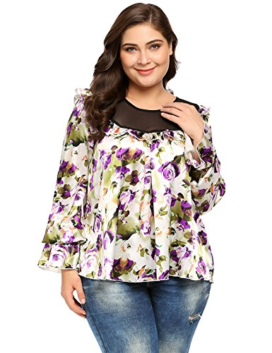 Women's Plus Size Print Blouses Long Bell Sleeve Ruffled Leopard Stain Blouse Tops (Ruffled Leopard)