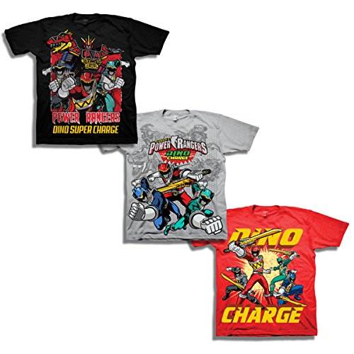 Power Rangers Boys' Little Boys' Super Dino Charge 3 Pack T-Shirt Bundle, Black/Silver/Royal, S-4