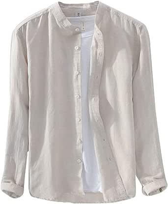 Camisa De Lino Hombre Manga Larga Sin Cuello Camisas Casual Camiseta Basica Shirts con Botones