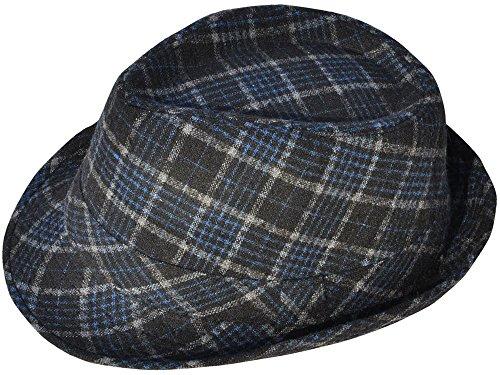 [Simplicity Short Brim Teardrop Crown Wool Blend Fedora Hat 3077_Blue/Black] (Wavy Guy Costume)