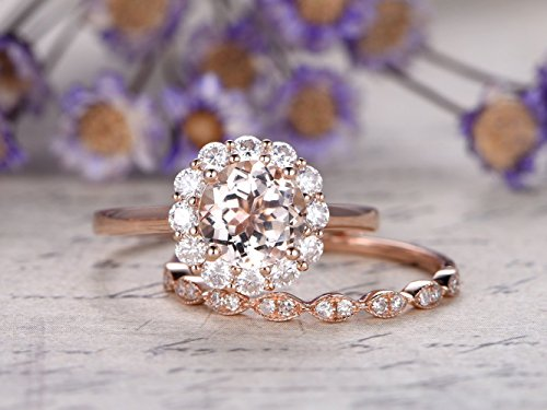 2pcs Bridal Ring Set,7mm Round Cut 1.2ctw VS Natural Pink Morganite Charles & Colvard Moissanite Floral Halo Engagement Ring Half Eternity Marquise Diamond Matching Wedding Band Promise Proposal
