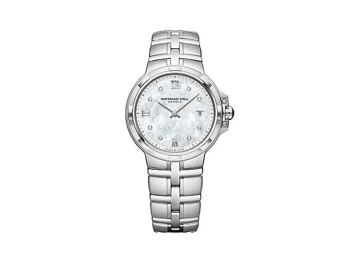 Reloj de Cuarzo Raymond Weil Parsifal Ladies, Madre Perla, Día, 8 Diamantes: Amazon.es: Relojes