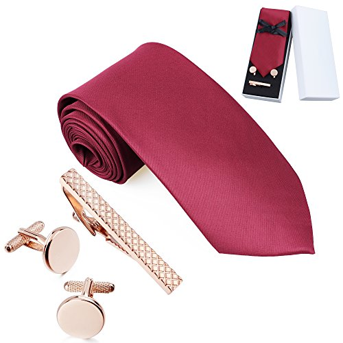 Men's Solid Color Necktie for Suit with Cuff Links and Tie Clip Set – Gentleman's Gift Box for Weddings (Solid Gold Cufflinks)