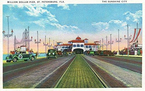 St. Petersburg, Florida - Down Million Dollar Pier Scene (9x12 Art Print, Wall Decor Travel Poster)