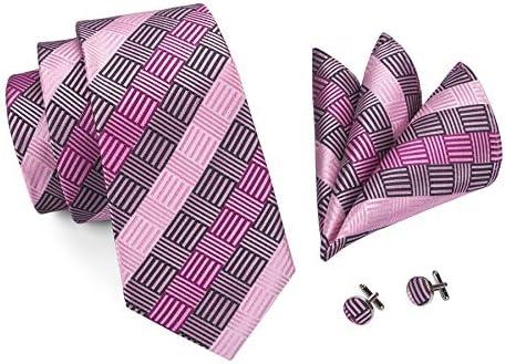 YOHOWA Check Tie Set Men Pocket Square Cufflinks Silk Plaid Business Tie Wedding Fashion