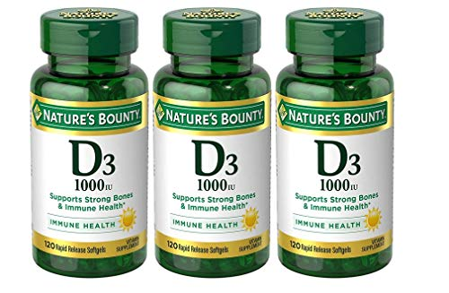 Nature's Bounty Vitamin D3 Pills and Supplement, Supports Bone Health and Immune System, 1000iu, 120 Softgels, 3 Pack