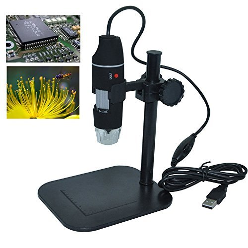 2 Function Picture/Video Record Digital Learning Scientist Technician Hand Tools Microscope Crafting Up to 500-X Zoom Enlarge USB Connect W/4+4 LED Light and Metal Stand - Inlay Pedestal