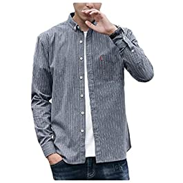 Men's Autumn Striped Long-Sleeve Japanese Square Collor Shirts