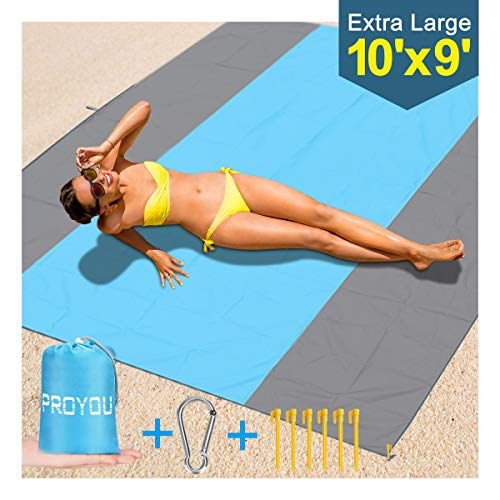 Beach Blanket Sand Proof Oversized - 118x 106 inches Extra Large Sand Free Beach Blankets/Big Mat Waterproof for Family Outdoor Travel with 6 Stakes, 4 Corner 1 Foldable Pocket