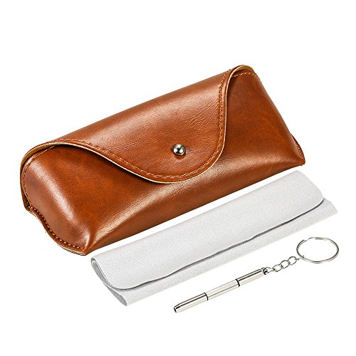 MITIME Portable PU Leather Sunglasses Pouch Soft Eye Glasses Carry Case for Women Men Horizontal Sunglass Box Case + Extra clean cloth + tools - Sunglasses Ladies For Older