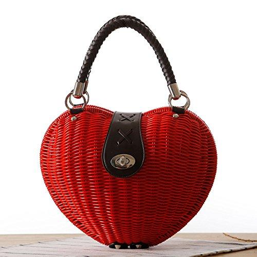 Forme Tissés Plage De Red Canne Red Sac De à GAOQQ En Sacs Mignon Main Coeur à Main Lady Fashion w7aXSWqI