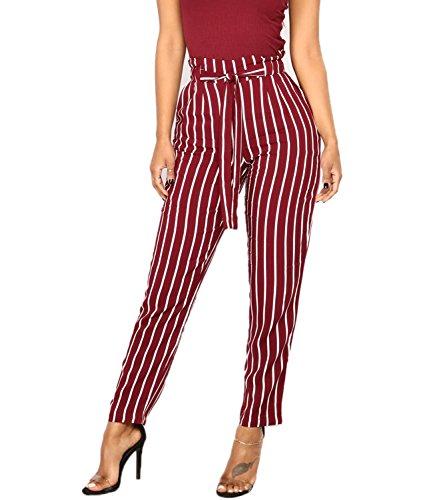 - Mansy Womens Striped Harem Capri Pants Casual Pants High Waist Bottom