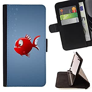 BullDog Case - FOR/Samsung Galaxy Note 3 III / - / Red Piranha Fish /- Monedero de cuero de la PU Llevar cubierta de la caja con el ID Credit Card Slots Flip funda de cuer