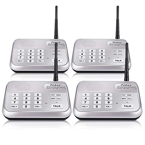 TekeyTBox Wireless Intercom System, TekeyTBox 1800 Feet Long Range 10 Channel Digital FM Wireless Intercom System for Home and Office Walkie Talkie System for Outdoor Activitie(4 Stations Silver) price tips cheap