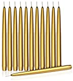 Higlow Dripless Taper Candles 8'' Inch Tall Wedding Dinner Candle Set of 12 (Gold)