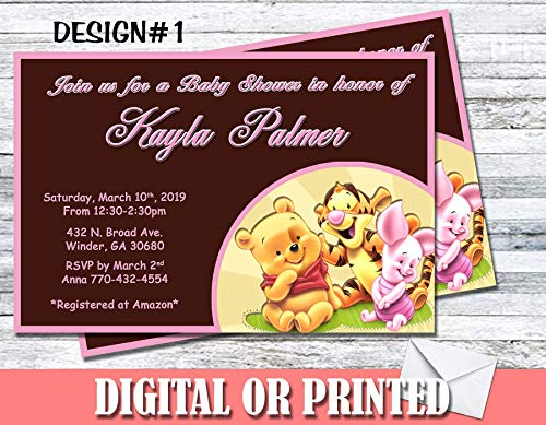Winnie The Pooh Baby Shower Girl Boy Personalized Invitations More Designs Inside! (Girl Winnie The Pooh Baby Shower Invitations)