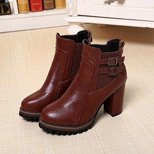 Kaiki 2017 Frauen Stiefel High Heels Stiefeletten Plattform Schuhe Damen Schuhe Herbst Winter Brown