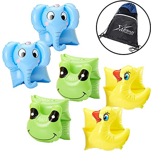 - Swimline Inflatable Animal Arm Band 3 Pack - Elephant, Frog, and Ducky, with Drawstring Storage Bag