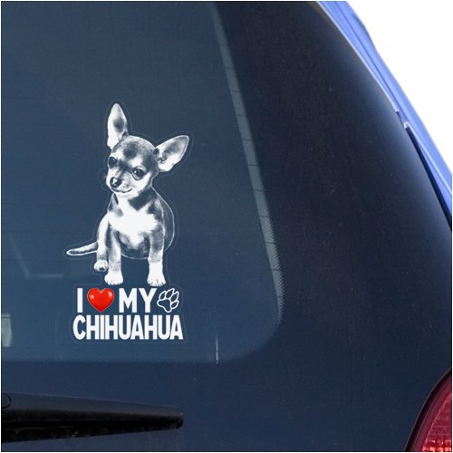 I Love My Chihuahua Clear Vinyl Decal Sticker for Window, Chiwawa Dog Sign Art Print