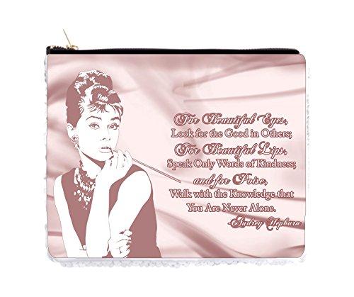 (Audrey Hepburn Makeup Quote in Mauve Satin Print - 2 Sided 6.5