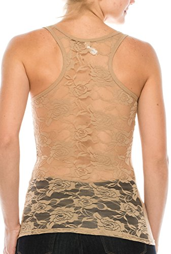 Top Lace Ribbed Tank (ALLabout_U Women's Floral Lace Racerback Tank Top Thermal Nude L)