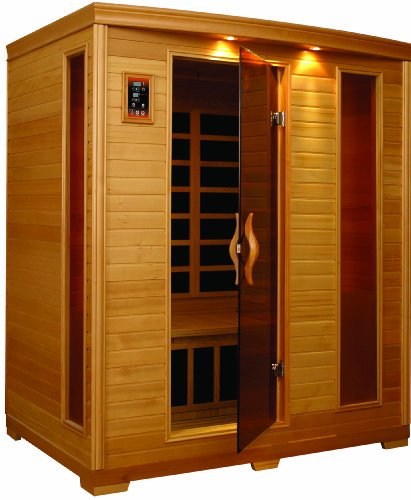 BetterLife BL6444 3 Person Carbon Infrared Sauna with ChromoTherapy Lighting, 64 by 46 by 77-Inch, Natural Hemlock Wood Finish by Better Life