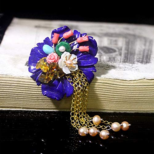 Brooch Pendant Dual-Use Shell Flower Women's Accessories Lapis Pearl Tassel Handmade Corsage Vintage Exquisite High-End Jewelry Luxury