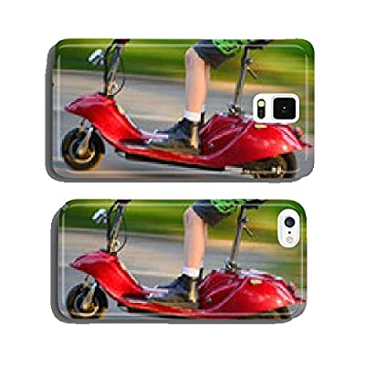 Young boy riding a vintage electric scooter cell phone cover case iPhone6