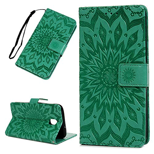 Galaxy J7 V 2nd Gen Case Floral Sunflower Wallet Case PU Leather Magnetic Flip Cover Shock Resistant Flexible Soft TPU Protective Bumper Card Slots Kickstand Lanyard for Samsung Galaxy J7 Mint Green