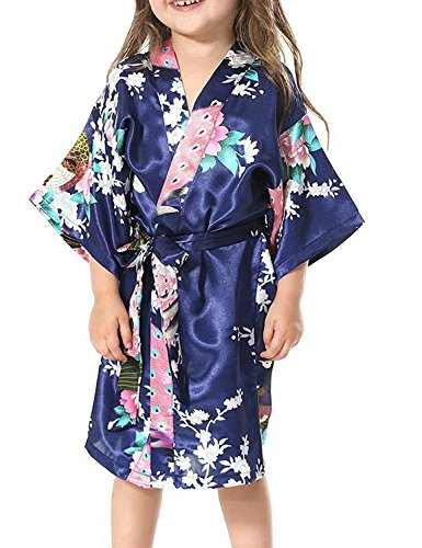 Yidarton Girls Peacock Satin Kimono Robe Fashion Bathrobe Nightgown Navy 14 by Yidarton
