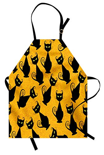 Ambesonne Vintage Apron, Black Cat Pattern for Halloween on Orange Background Celebration Graphic Patterns, Unisex Kitchen Bib Apron with Adjustable Neck for Cooking Baking Gardening, Orange Black