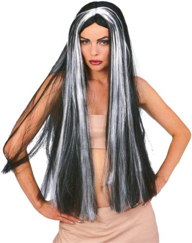 Grey Adult Witch Wig (Rubie's Costume 36-Inch Streaked Witch Wig, Black/Grey, One Size)
