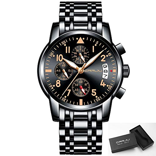 CRRJU Date Analog Quartz Watches for Men Fashion Small Black Face Men's Sport Chronograph Wristwatch