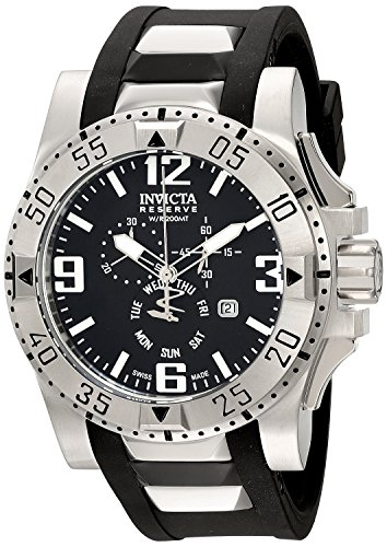 Men's  Excursion Stainless Steel Watch With Black PU Band - Invicta 18202