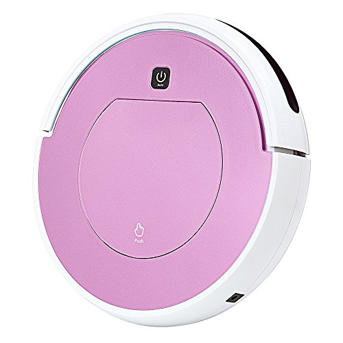(FENGRUI Robot Vacuum Cleaner Automatic Mini Strong Suction Remote Control HEPA Filter Robotic Vacuums Dog Pets Hair Hardwood Floor Surfaces 11.4x11.4x2.95 Inches (Pink))