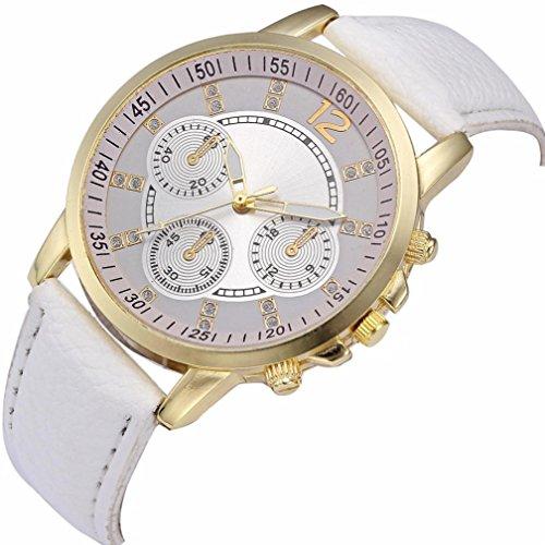 Enjocho Men Fashion Digital Alloy Dial Leather Band Quartz Analog Wrist Watches,Style 2 (White) Style Alloy Analog