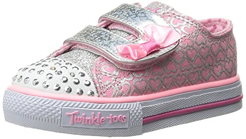 Girls Light Up Shoes (Skechers Kids Shuffles Light-Up Sneaker (Toddler/Little Kid),Pink/Silver,9 M US Toddler)