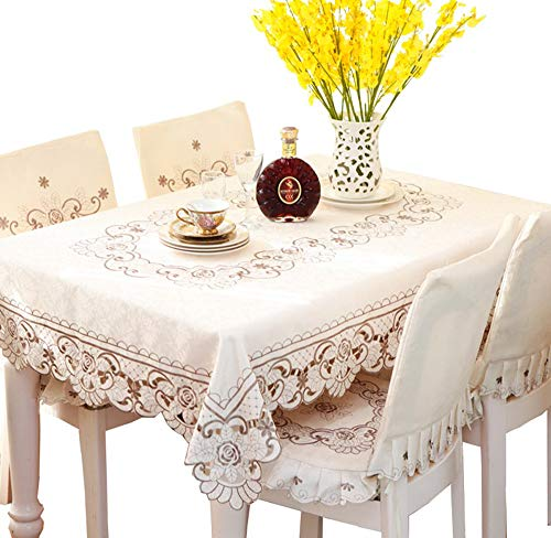 LeLehome Brown Flower Embroidered Lace Cream Tablecloth Rectangular 59 Inch x 86 Inch Approx Multi Sizes Available