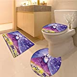 3 Piece Anti-slip mat set Fictiona Lady Stands in the Sky and Arrange the Stars Ange Deity Symbo Print Extralo Non Slip Bathroom Rugs