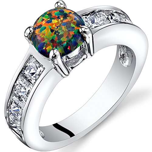 Peora Created Black Opal Mezzo Channel Ring Sterling Silver 1.00 Carats Size 6
