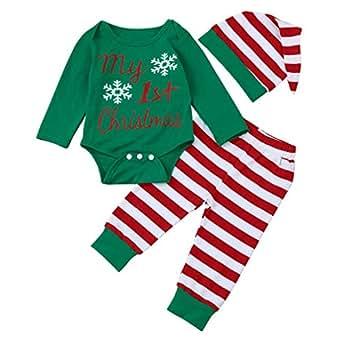 Navidad Bebe Ropa,SMARTLADY Bebé Niña Niño Monos 'my 1st Christmas ' + Pantalones a rayas + Sombrero (0-3 meses, Verde)