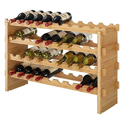 HOMECHO 36-Bottle Stackable Wine Storage Rack Countertop, Wine Bottle Display Rack Shelf Free Standing Floor 100% Bamboo Wood Organizer, Natural Color