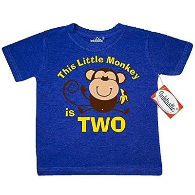 Inktastic Little Boys' Little Monkey 2nd Birthday Boy Toddler T-Shirt 2T Retro Heather Royal