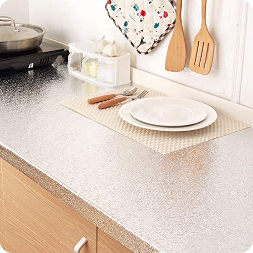 Kitchen Backsplash Sticker, Aluminum Foil Wallpaper Waterproof Oil Proof High Temperature Resistant Self Adhesive Shelf Liner Contact Paper for Kitchen Wall Cabinet Countertop 15.8'' x 78.7'' by Walldecor1 (Image #1)
