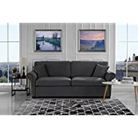 Classic Scroll Arm Brush Microfiber Living Room Sofa with Nailhead Trim (Dark Grey)