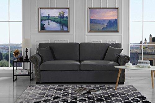 Microfiber Classic Sofa Couch (Classic Scroll Arm Brush Microfiber Living Room Sofa with Nailhead Trim (Dark Grey))
