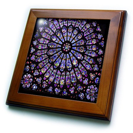 (3dRose Florene Architecture - Notre Dame Cathedral Stained Glass - 8x8 Framed Tile (ft_50227_1))
